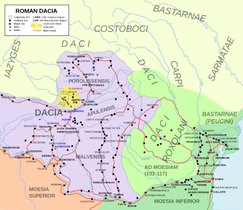 A map of Roman Dacia (in purple) superposed over Romania's borders as they are today. North we see the tribes of free Dacians, the Costoboci (more free Dacians), the Carpi (free Dacians or Thracians).