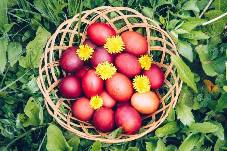 Easter eggs in a basket, Easter eggs symbolism traditions