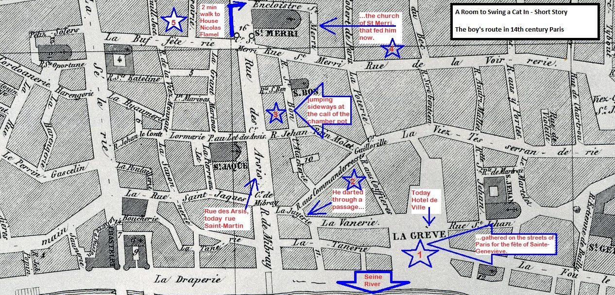 "A 14h century map of Paris showing the Seine River (bottom) and the road to the House of Nicolas Flamel (top). 1 - ""gathered on the streets of Paris for the fête of Sainte-Geneviève"" La Greve = today Hotel de Ville 2 - ""he darted through a passage"" 3 - ""jumping sideways at the call of the chamber pot"" 4 - ""the church of Saint Merri that fed him now..."" 5 - a two minutes walk to the House of Nicolas Flamel, heading NE."