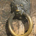 Lion's head door knocker at Rasnov Fortress