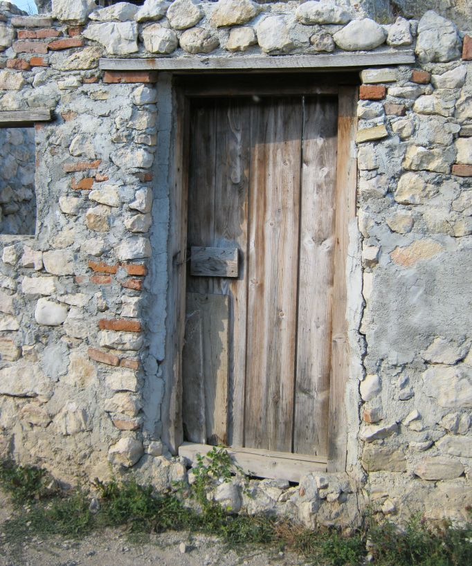 an old door inside Rasnov fortress, Romania