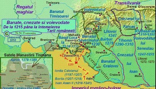 Romanian provinces XIII century, Cnezatul lui Ioan, Cnezatul lui Farcas, Voievodatul lui Litovoi, Voievodatul lui  Seneslau, Banatul Severinului