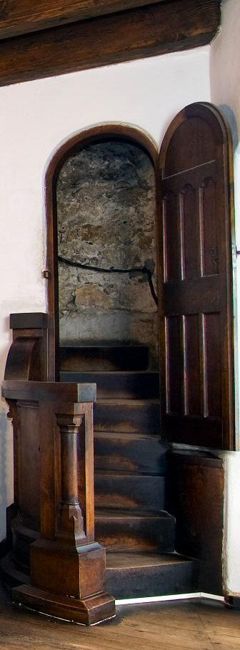 Bran Castle and a Secret Tunnel down a Well. Bran Castle, drawing room door opening into a secret passage