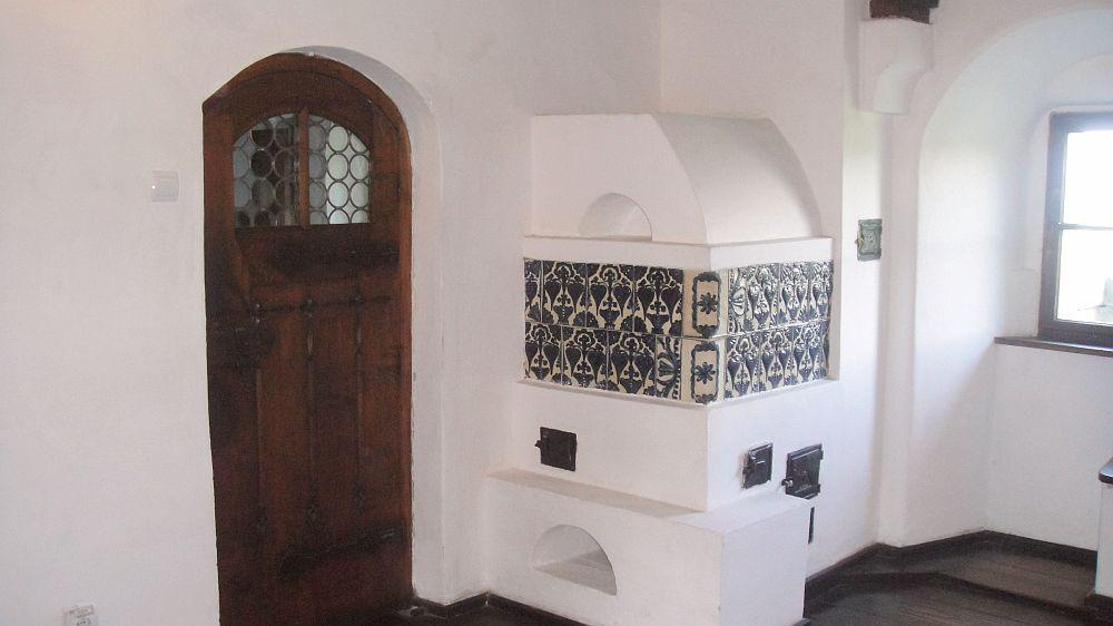 Bran Castle carved door terracotta tiles oven