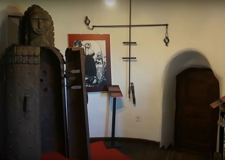 Two doors, the torture chamber room and the Iron Maiden, Bran Castle