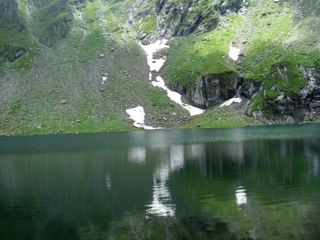 Balea Lac mountain reflected in lake